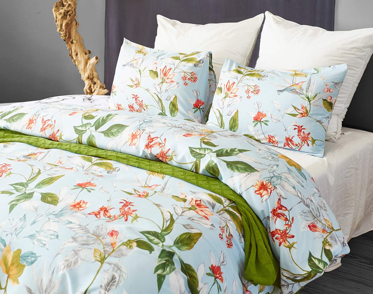 Chanyuan Boho Botanical Floral Plant Duvet Cover Set King Size Country Rustic Light Blue Green Leaves Flowers Printed Microfiber Bedding Duvet Comforter Cover with Zipper Closure 3 Pcs