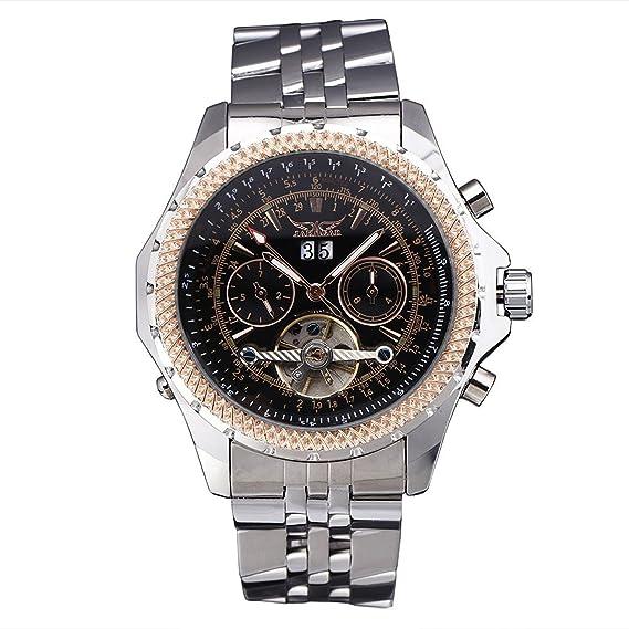 2017 Jaragar relojes hombres marca de lujo automático reloj mecánico 4 manos FECHA/día Tourbillon