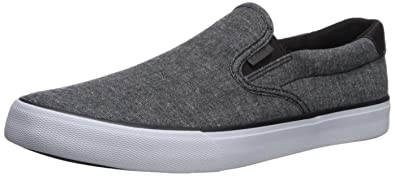 Lugz Men's Clipper Sneaker, Black/White Chambray, ...