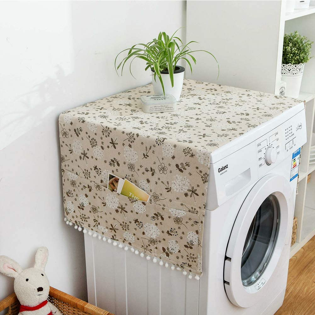 QYN Fridge Dust Covers with 6 Storage Pockets,Multi-Purpose Washing Machine Top Cover Single Door Refrigerator Dust Proof Cover-graya 70x170cm(28x67inch)