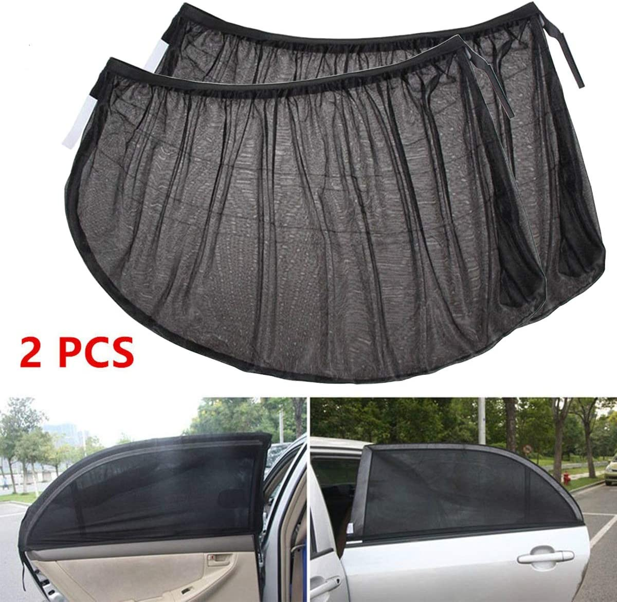 DEALPEAK 1Pair Front//Rear Window Car Sun Shade Cover Rear Side Window Kids Baby Max UV Protection Block Mesh Style : Front Window