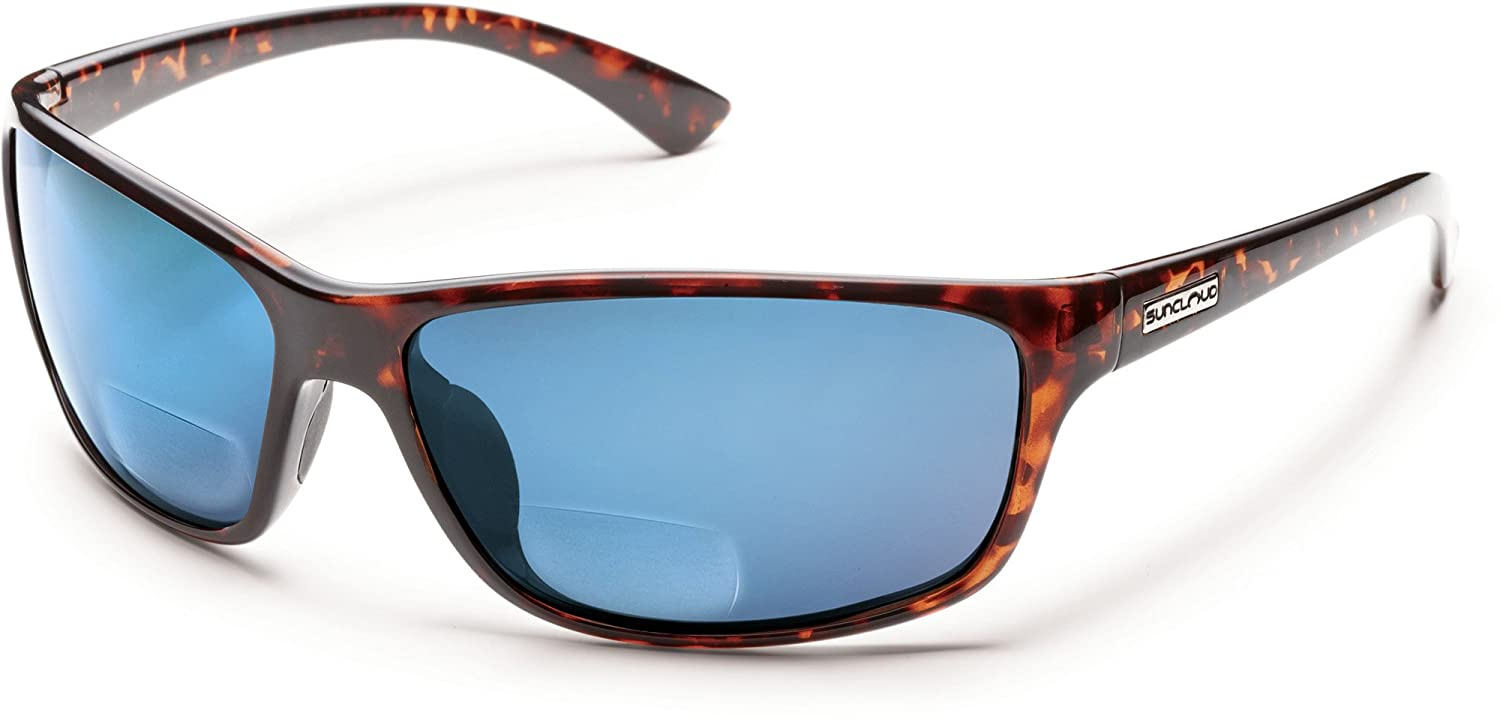 3b4d43d5715 Amazon.com  Suncloud Sentry Polarized Bi-Focal Reading Sunglasses in  Black Blue Mirror +1.00  Clothing