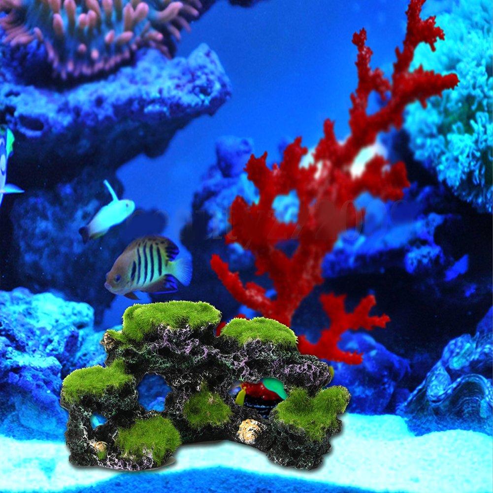Acuario Artificial Montaña Coral Arrecife Roca Cave piedra Moss Fish Tank Simulación Paisaje Adorno Decoración: Amazon.es: Productos para mascotas