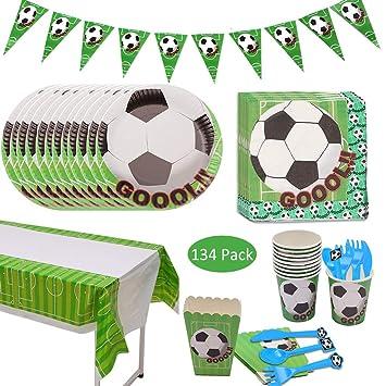 Amycute 134 pcs 20 Invitados Vajilla de Fútbol Temáticas ...