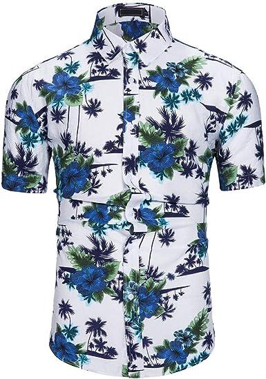 Cocoty-store 2019 Camisa Hawaiana para Hombre, Diseño de Palmeras, para la Playa, Fiestas, Verano y Vacaciones, XS/S/M/L/XL/2XL, Blanco: Amazon.es: Ropa y accesorios