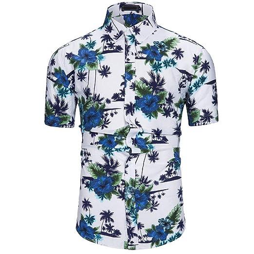 c9b6678274de 2019 Men's Casual Blue Flowers Print Short Sleeve T-Shirt Tops ...