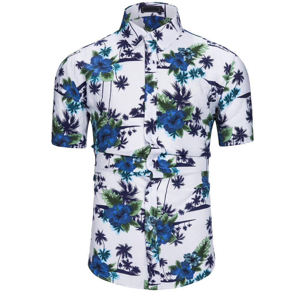 HimTak New Fashion T-Shirt For Men's Summer Leisure Vacation Hawaii Wind Printed Shirt Beach Sports Wild Top