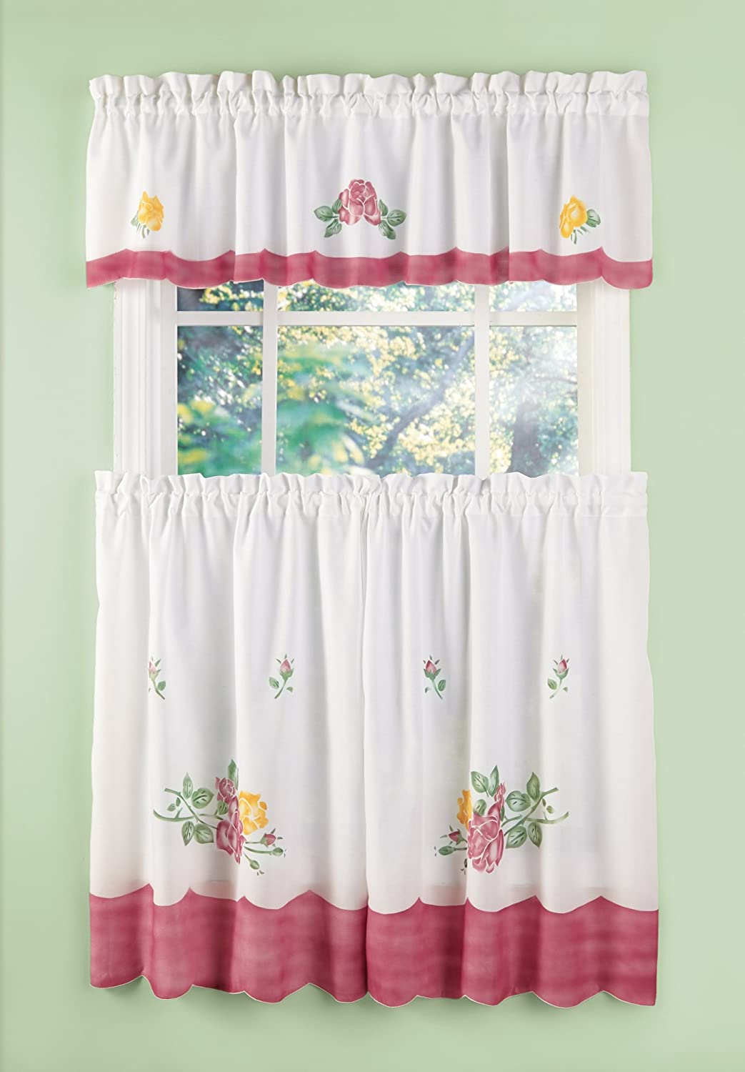 Buy Kitchen Curtains Cafe Curtain Set 3 Piece Floral Drapery Collection Online At Low Prices In India Amazon In