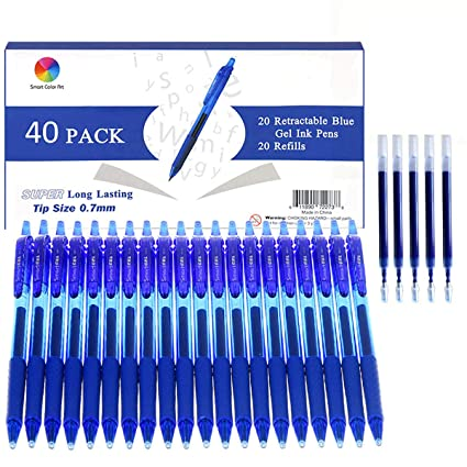 Smart Color Art 40 Pack Blue Gel Pens, Retractable Medium Point Gel Ink  Pens Smooth Writing for School Office Home, Comfort Grip(20 Pens with 20
