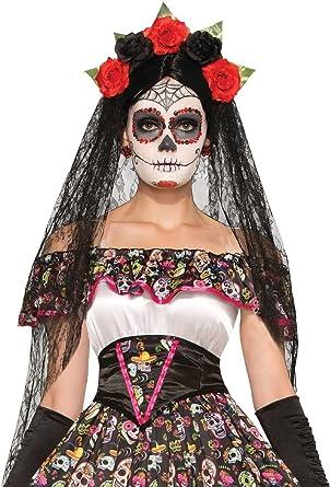 50f8f8176de Ladies Day of The Dead Halloween Dark Bride Carnival Festival Veil ...