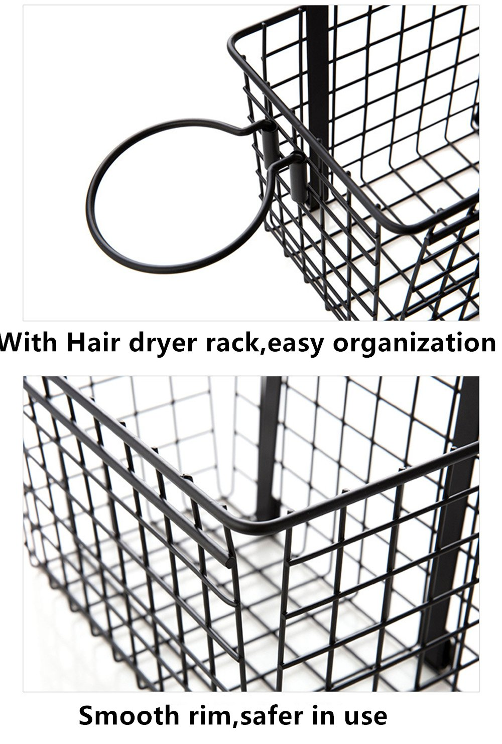 Over the Cabinet Door Black Wire Storage Basket with Hair Dryer Holder,Storage Bin for Toy Lotion Shampoo Magazine Toiletry Towel Kitchen,Space Saving Solution Dynabit