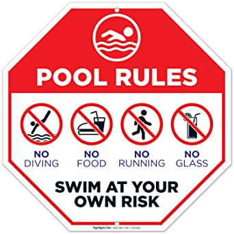 Amazon.com: Signo de reglas de piscina, señal de piscina 12 ...