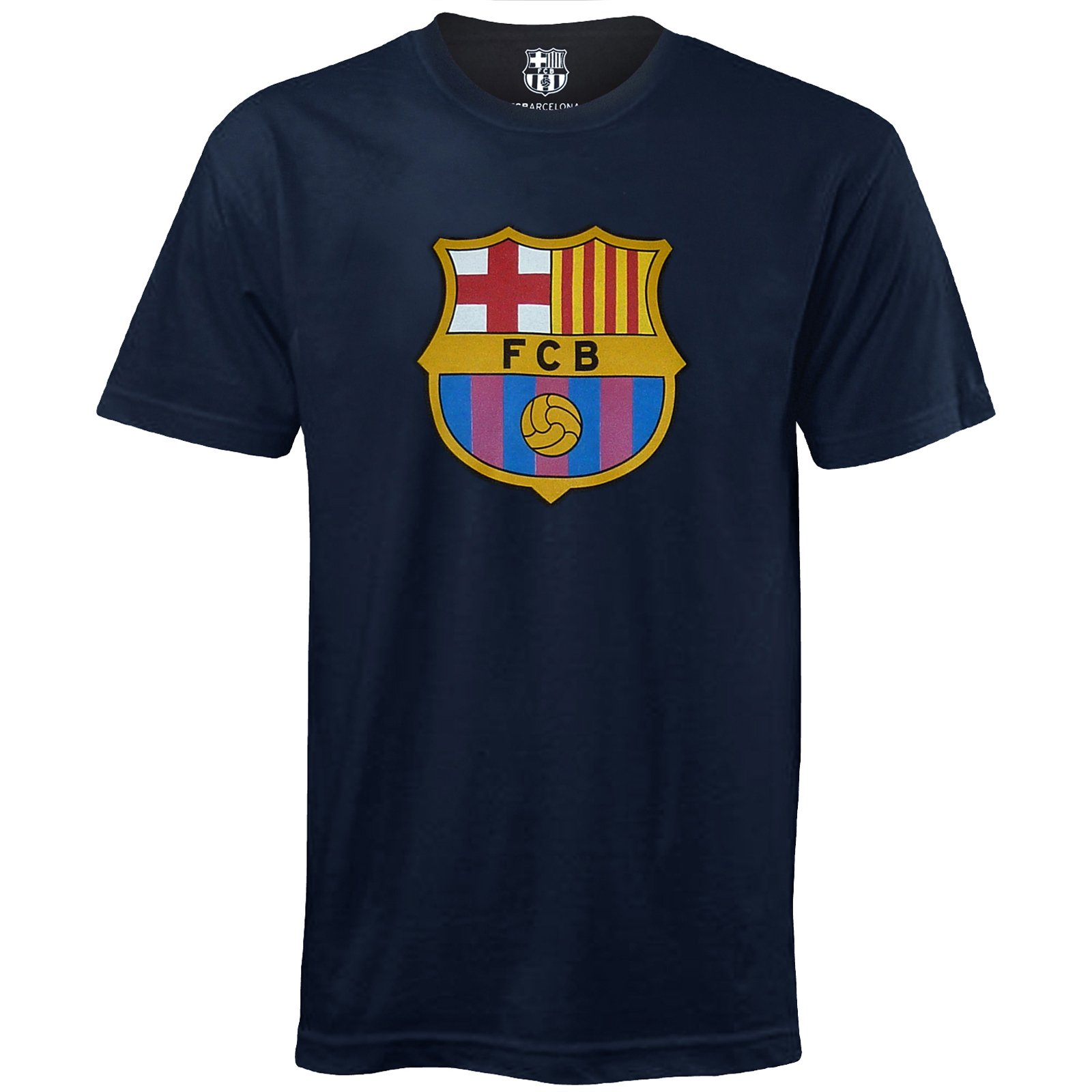 FC Barcelona Official Football Soccer Gift Mens Crest T-Shirt Navy Large