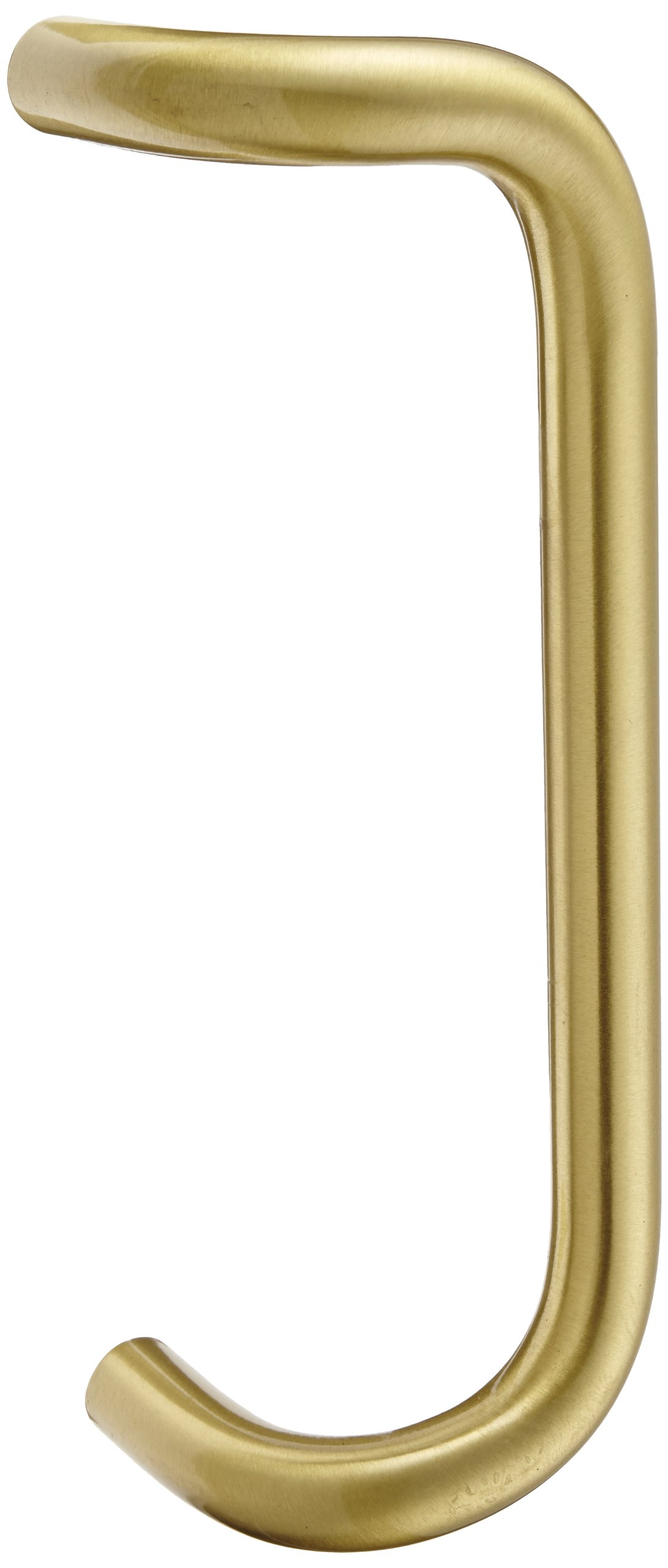 Rockwood BF158.4 Brass 90-Degree Offset Door Pull, 1'' Diameter x 12'' Center-to-Center, Through Bolt Mounting for 1-3/4'' Door, Satin Clear Coated Finish