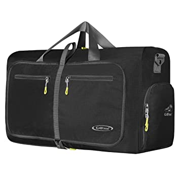 G4Free 60L Foldable Travel Duffle Bag For Luggage Gym Sports With Shoe Compartment Water Resistant