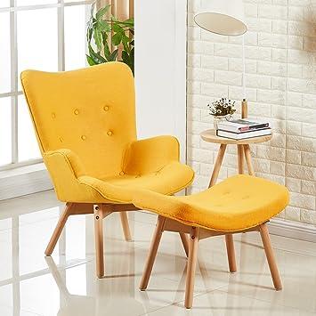 Designetsamaison fauteuil scandinave jaune stockholm
