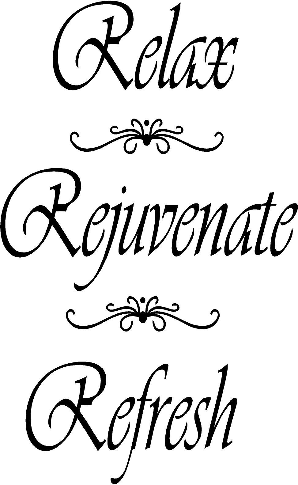 Relax, Rejuvenate, Refresh Bathroom Wall Decals Quotes, Bathroom Wall Art Quotes