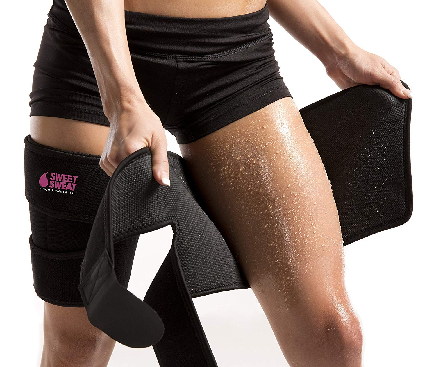 Sports Research Sweet Sweat Thigh Trimmers for Men & Women ~ Increases Heat and Sweat Production to The Thigh Area ~ Includes Mesh Carrying Bag (Pink, Large: 31'' L x 9'' W) by Sports Research