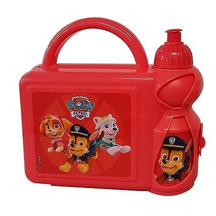 Catchy-Brands Paw Patrol - Juego de Fiambrera y Botella de plástico Rojo para niños