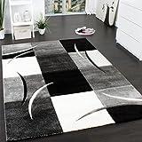 Designer Teppich mit Konturenschnitt Muster Kariert in Schwarz Weiss Grau, Grösse:160x230 cm
