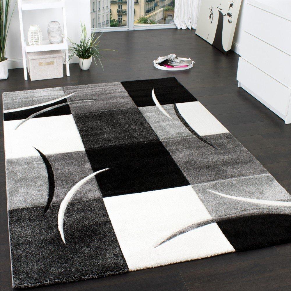 Designer Teppich mit Konturenschnitt Muster Kariert in Schwarz Weiss ...