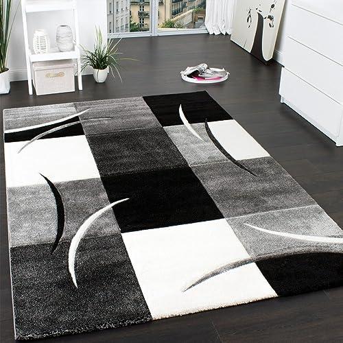 PHC Designer Rug   Contour Cut   Geometric Pattern   Black White Grey, Size: