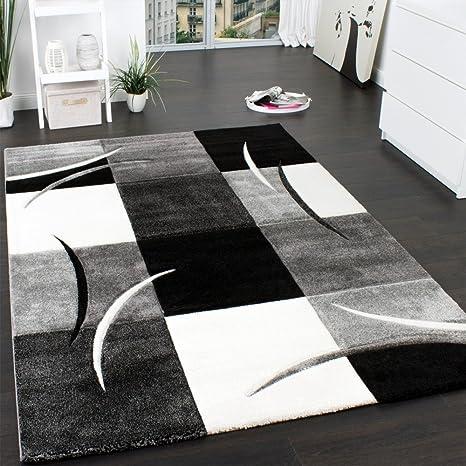 paco home  Paco Home Tappeto Di Design Orlo Modello A Quadri Nei Colori Bianco ...