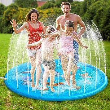 MonQi 1* 68 Pulgadas Splash Pad + 5 * Enchufe de Oído Impermeable y Clip para la Nariz, Juego de Salpicaduras y Salpicaduras, Almohadilla de aspersión para 5 Niños Jugar Juntos (68 Pulgadas)