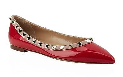 c5e8d9a443e5 Valentino Garavani Patent Rockstud Ballerina Flats