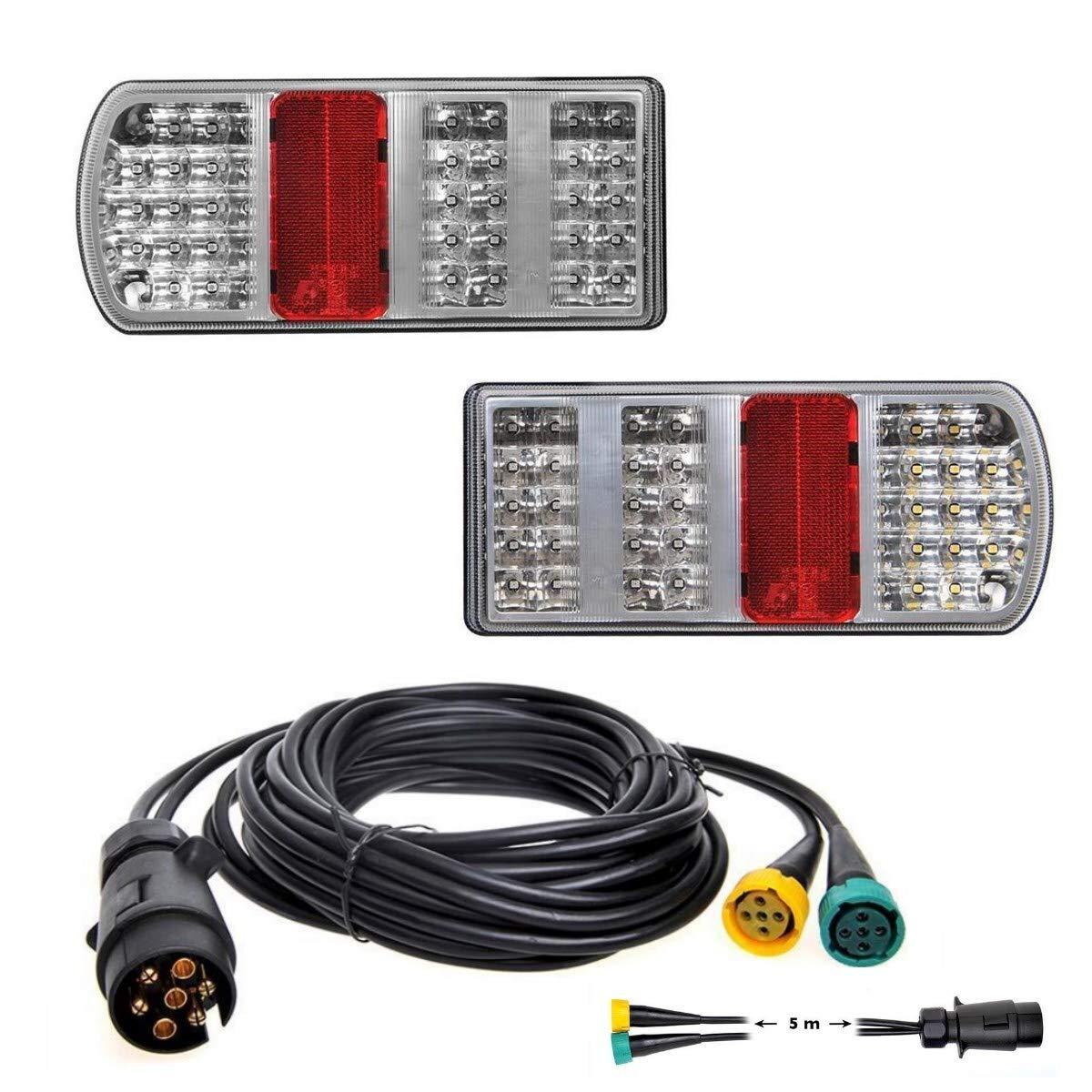 Kabelsatz 5m mit 7-polig Stecker LED R/ückleuchten Set Anh/änger inkl