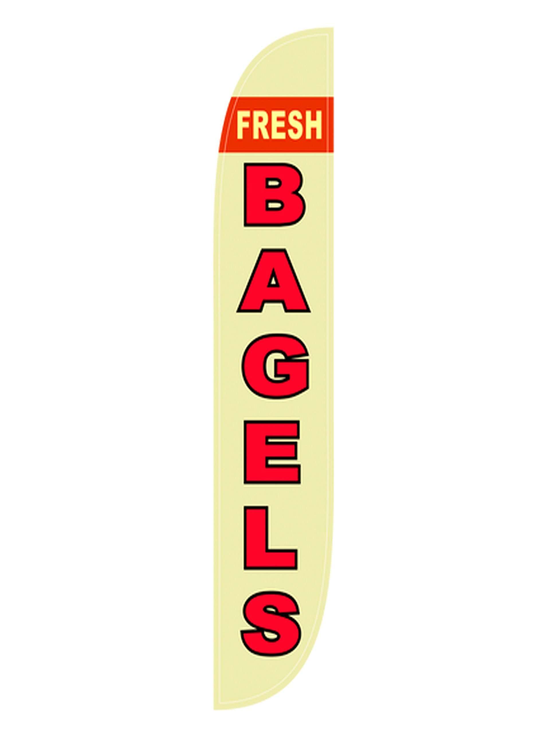 LookOurWay Fresh Bagels Feather Flag Complete Set with Pole & Ground Spike by LookOurWay