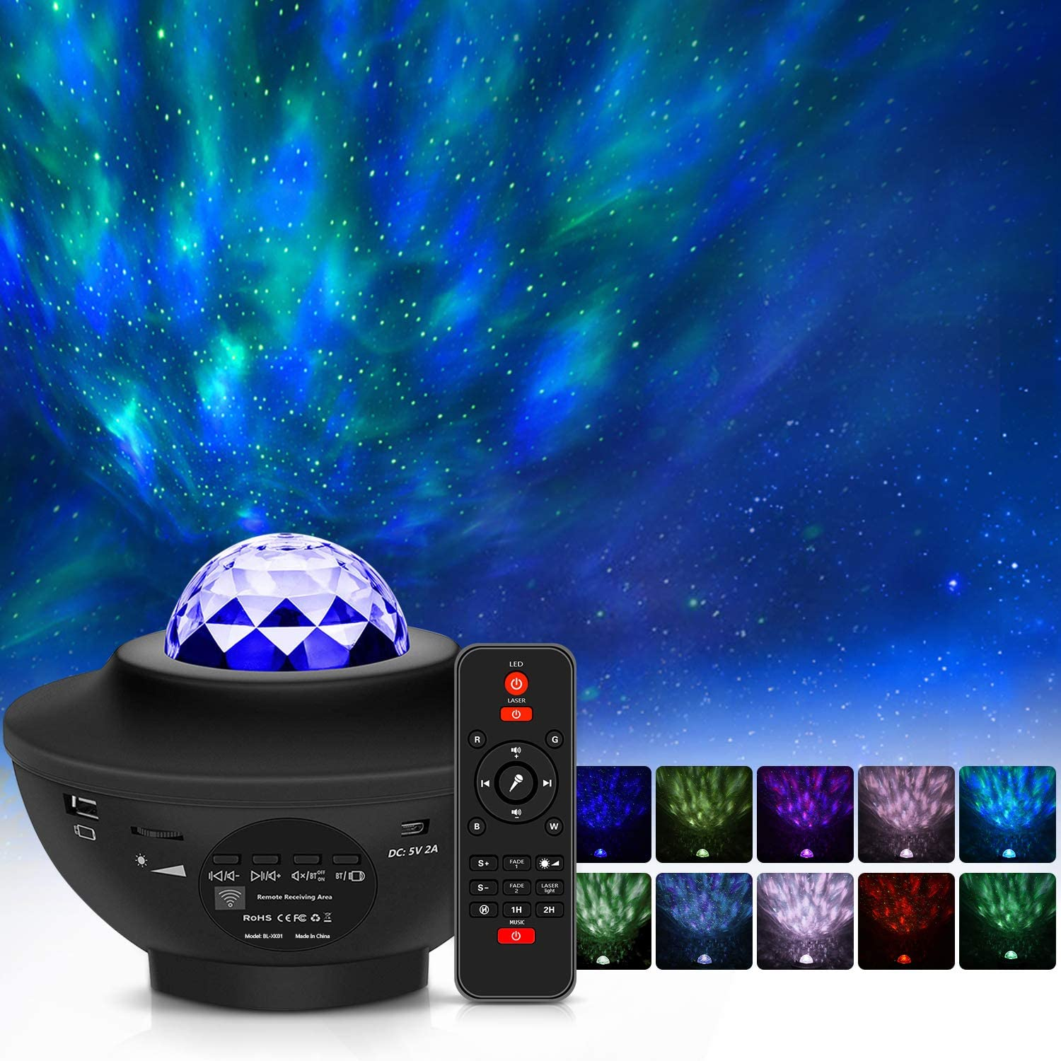 Amazon Com Star Projector Night Light Projector Veipao 3 In 1 Laser Projector Ocean Wave Projector Led Nebula Cloud Light With Bluetooth Music Speaker For Baby Adult Bedroom Decoration Voice Remote Control