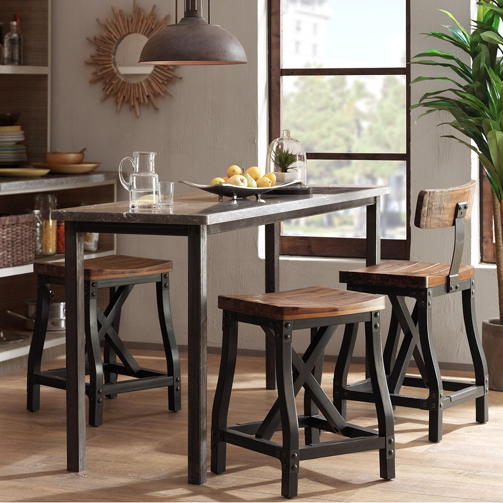 Ink+Ivy Lancaster Counter Stools - Solid Wood, Metal Kitchen Stool - Amber Wood, Industrial Style Counter Height Stools - 1 Piece Iron Frame Wooden Seat Counter Furniture For Home by Ink+Ivy (Image #3)