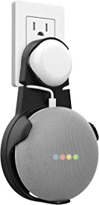 MoKo Google Home Mini Mount, Outlet Wall Mount Hanger Stand Holder, Space-Saving Accessories for Google Nest Mini (2nd Gen), Compact Case Plug Hiding The Cord in Kitchen Bedroom Bathroom, Black