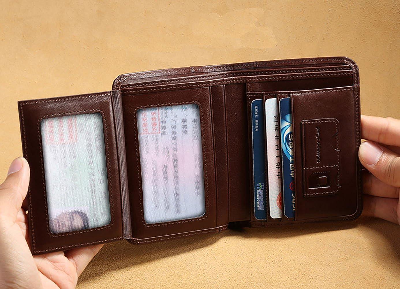 MANBANG Billetera italiana de piel de vaca con capacidad extra para hombre