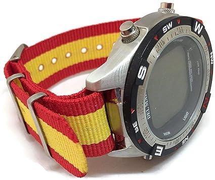 Correa de reloj con diseño de la bandera de España, de la OTAN, 20 mm: Amazon.es: Relojes