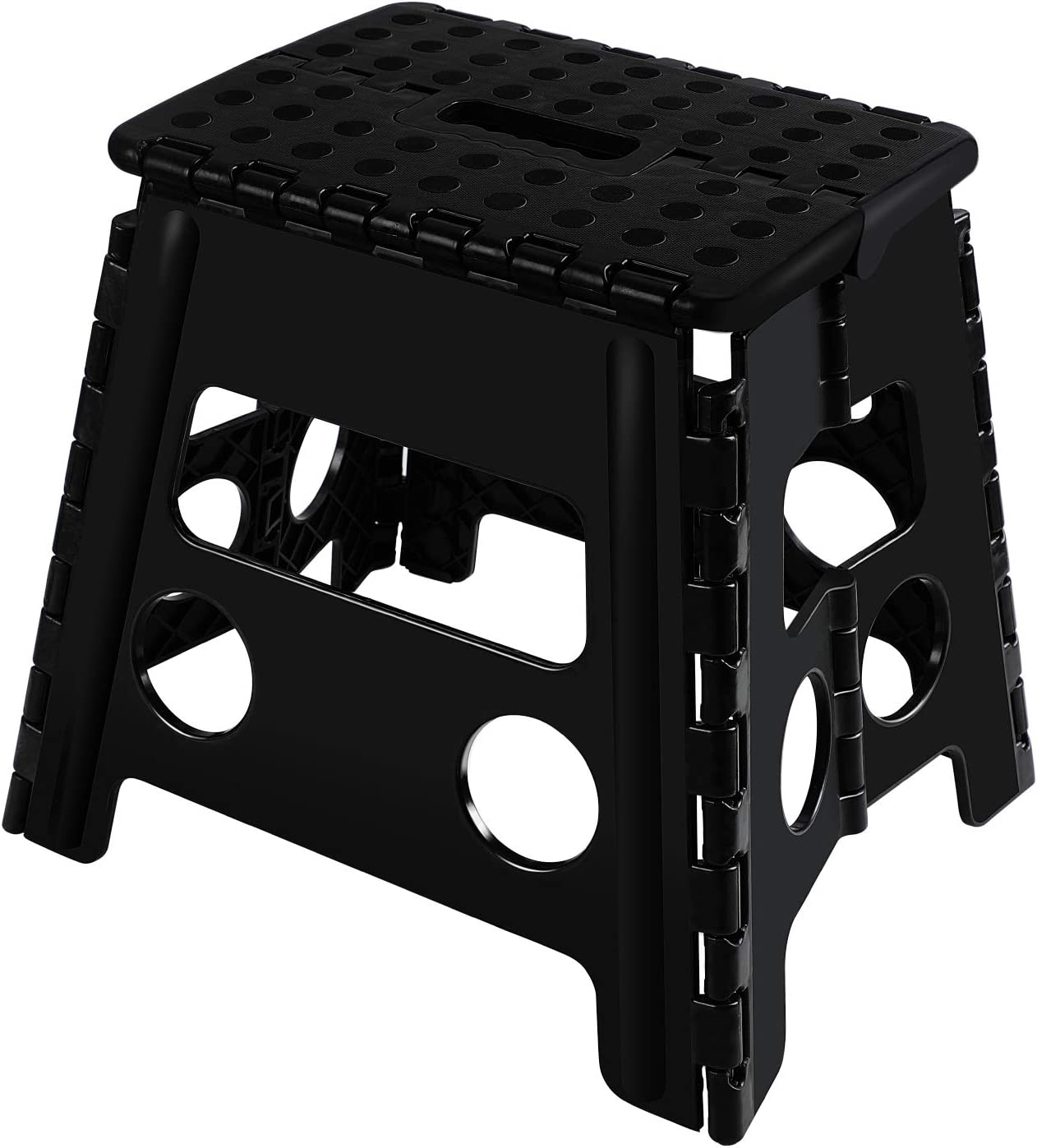 Topfun Folding Step Stool, 13 inch Non-Slip Footstool for Adults or Kids, Sturdy Safe Enough, Holds up to 300 Lb, Foldable Step Stools Storage/Open Easy, for Kitchen,Toilet,Office,RV (Black, 13inch)