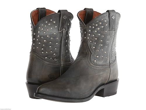 6e19e064a905a Harley Davidson Kira Ladies Distressed Black Grey Leather Western Boots  Biker 38