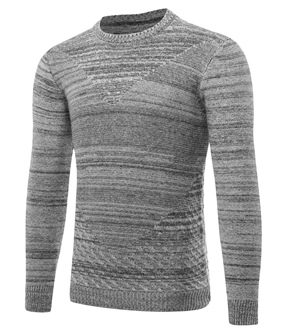 X-Future Men Stylish Crewneck Long Sleeve Slim-Fit Knit Pullover Sweater