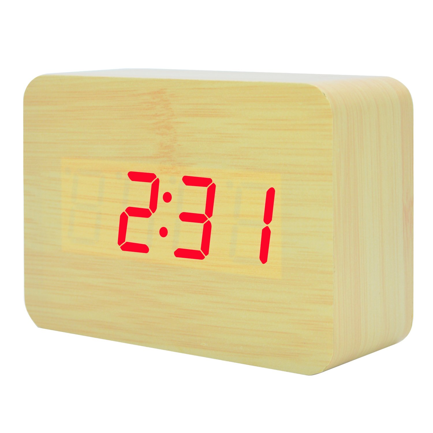 Electronic Wooden Alarm Clock LED Digital Time Temperature Date Alternate Display Desktop Home Bedroom Travel Clocks with Sound Control Function (Bamboo Red Light) GANGHENGYU
