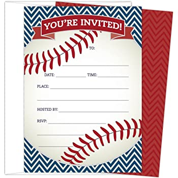 Baseball Party Invitations In Red And Navy Set Of 25 Themed Cards Envelopes For Kids Birthday Parties Baby Showers Sprinkles