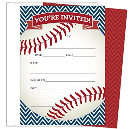 amazon com baseball party invitations in red and navy set of 25
