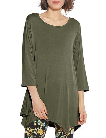 1a91238e0bd BELAROI Women 3 4 Sleeve Swing Tunic Tops Plus Size T Shirt at ...