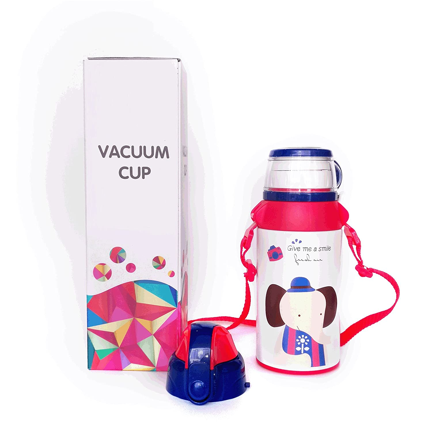GALLERY-2 in1 Outdoor Water Bottle for kids Bulk School Stainless Steel Bottle Kitchen is Easy to Carry Cups Straw (Red)