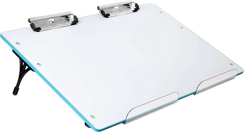 Visual Edge Slant Board - (Blue) Sloped Work Surface for Optimal Learning - Portable Desktop Magnetic Dry Erase White Board for Kids