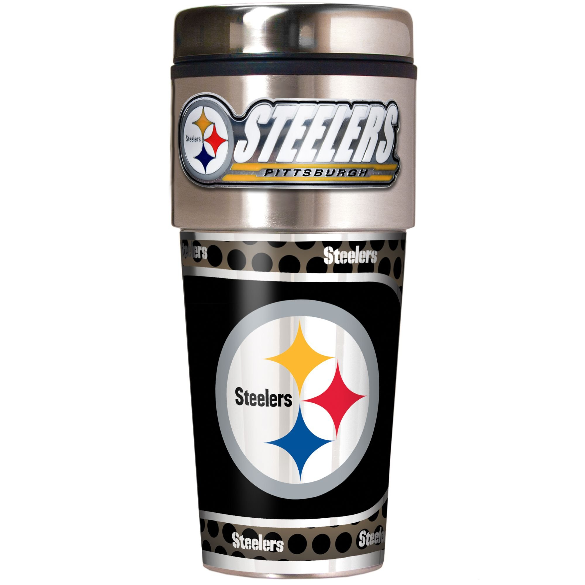 NFL Pittsburgh Steelers Metallic Travel Tumbler, Stainless Steel and Black Vinyl, 16-Ounce by Great American Products