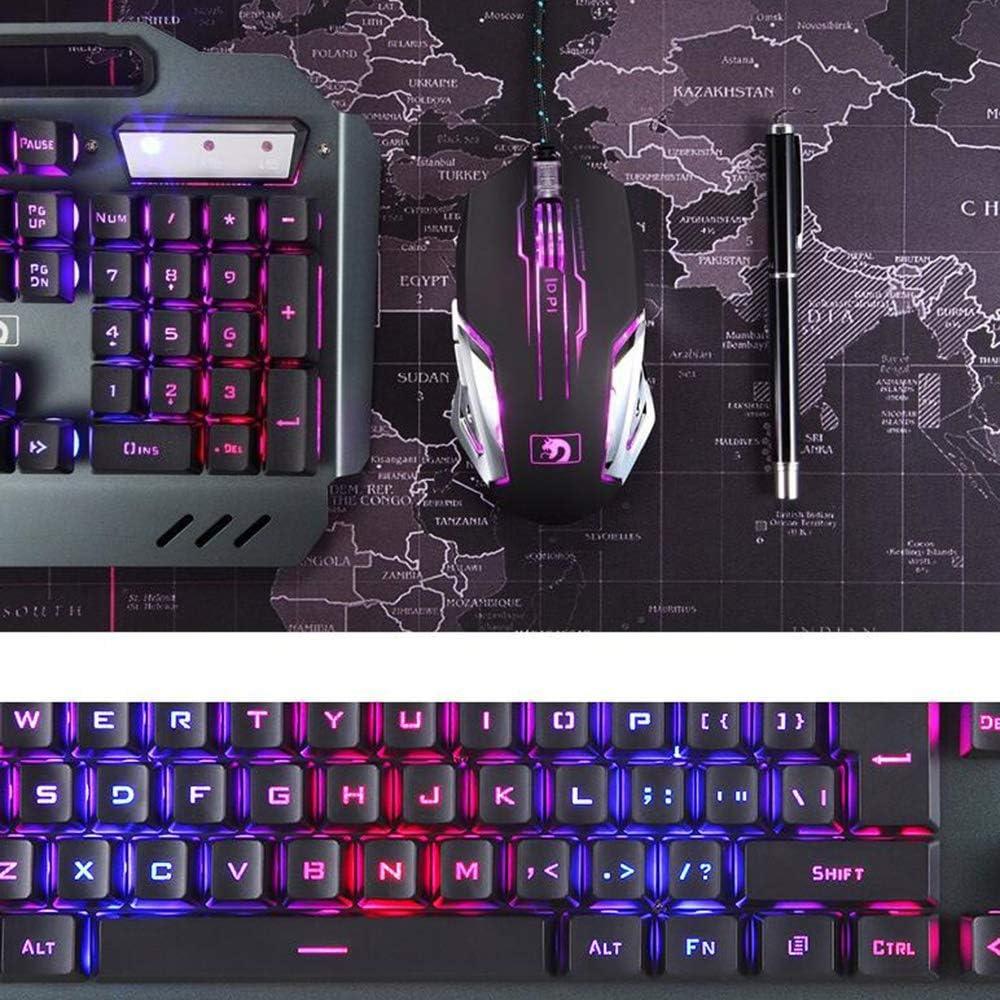 Color : White Keyboard HUOGUOYIN Gaming Keyboard Waterproof Mechanical Rainbow Backlit Multi Shortcuts Gaming Keyboard 3200 DPI Optical Mice Mouse Pad Set with Pen Phone Holder Keyboard