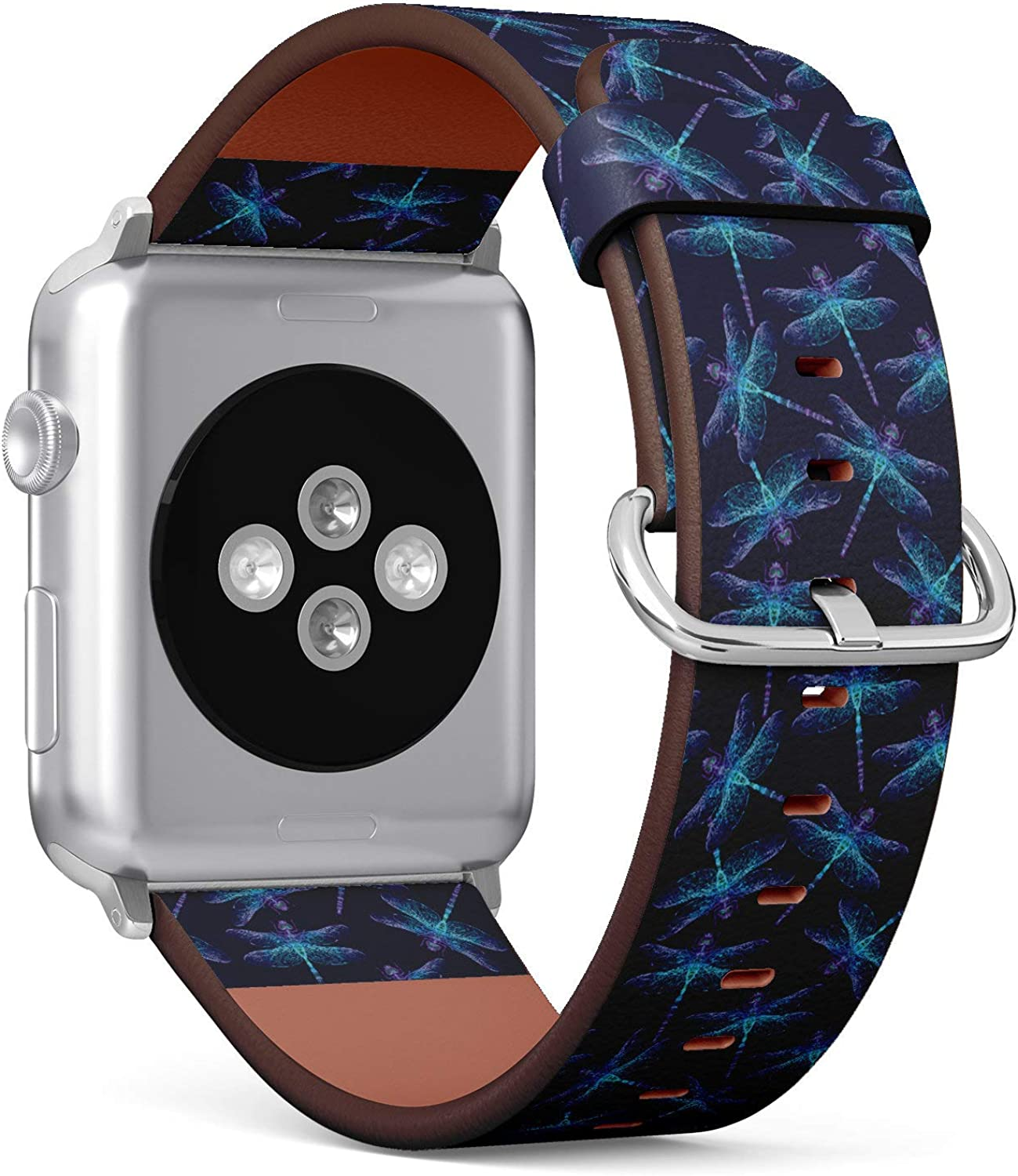 (Neon Color Dragonfly Pattern) Patterned Leather Wristband Strap for Apple Watch Series 4/3/2/1 gen,Replacement for iWatch 38mm / 40mm Bands