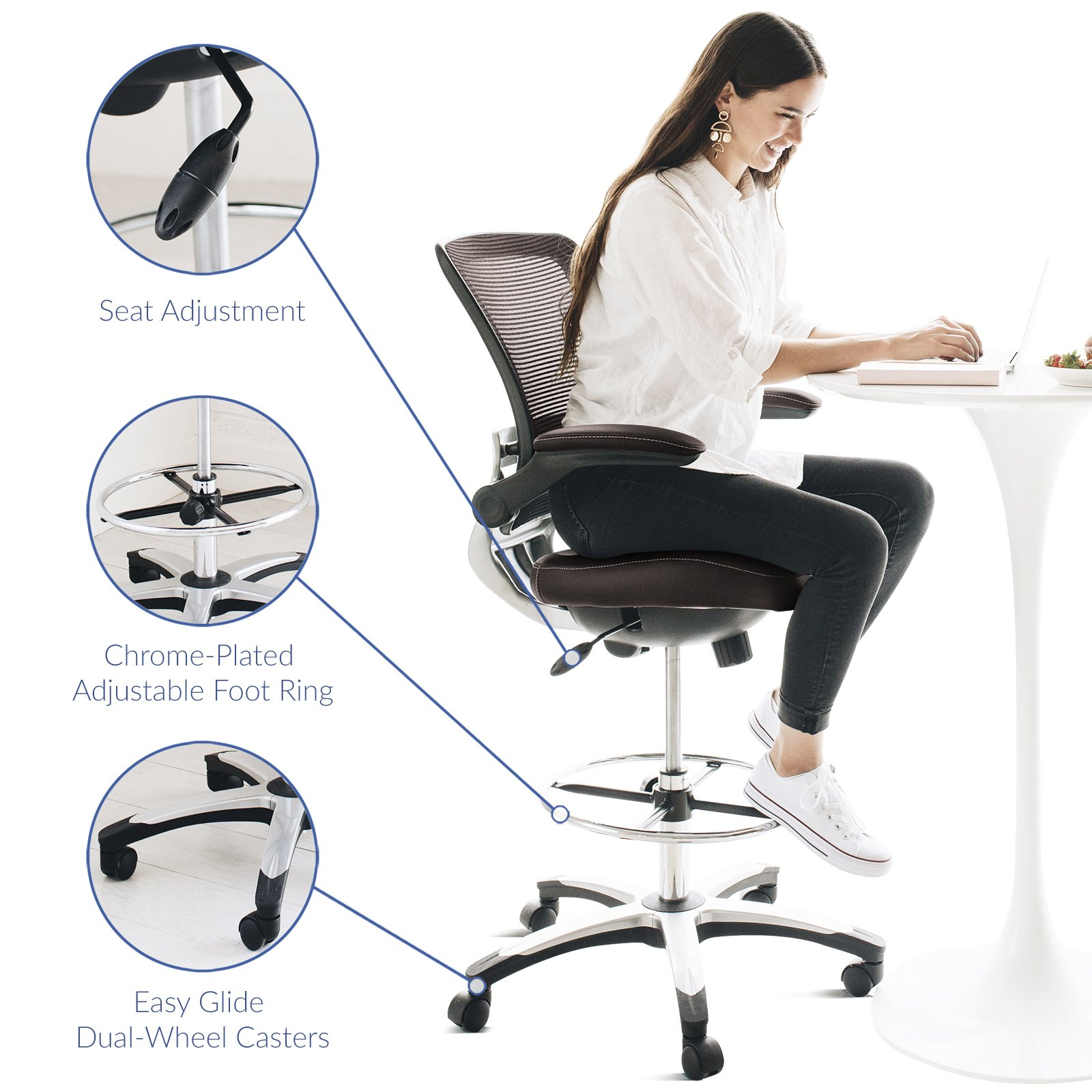 Modway Edge Drafting Chair In Brown - Reception Desk Chair - Tall Office Chair For Adjustable Standing Desks - Flip-Up Arm Drafting Table Chair by Modway (Image #5)