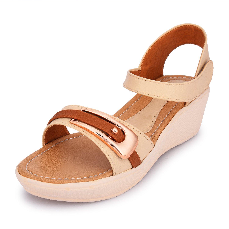 2695568e7a1d forlido women s low heel wedge open tow block heel platform wedge sandal  shoes